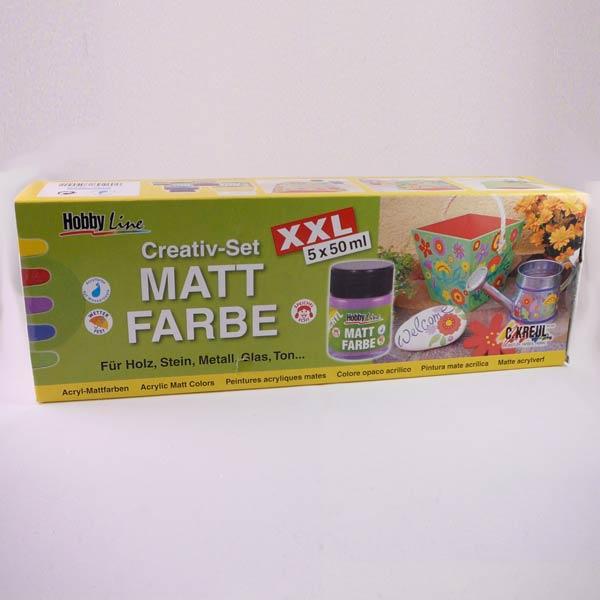 HobbyLine Mattfarbe Creativ 5er Set XXL