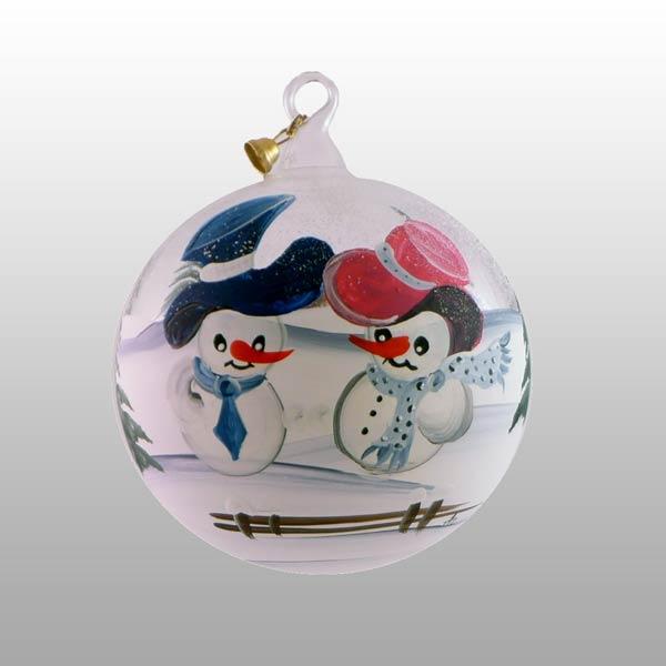 Winterliche Glaskugel mit glücklichen Schneemännern-13cm