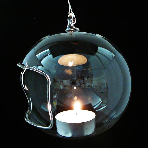Unbemalte Teelichtkugel mit Öffnung
