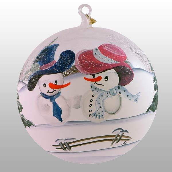Winterliche Glaskugel mit glücklichen Schneemännern-15cm