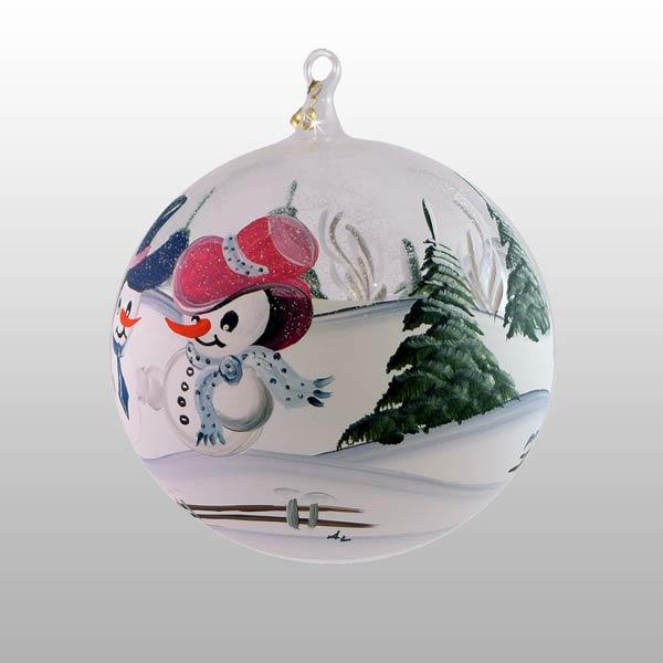 Winterliche Glaskugel mit glücklichen Schneemännern-11cm