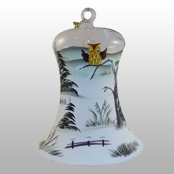 Lauschaer Glasglocke Waldeule-11cm