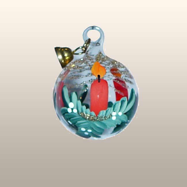 Glaskugel Adventskerze-3cm