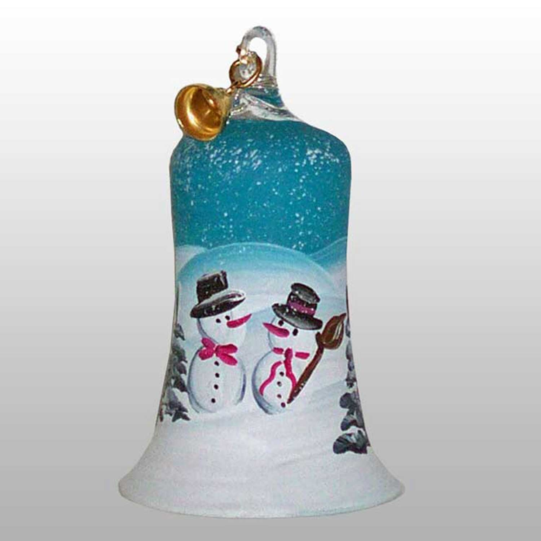 Glasglocke Schneemannpaar