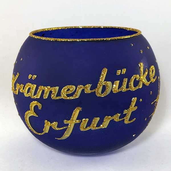 Teelichtbecher Krämerbrücke Erfurt-Blau